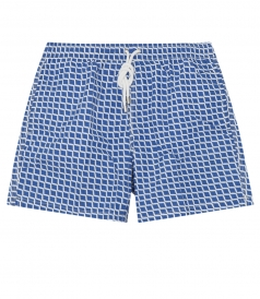 ROUND CHECKED PRINED SWIM SHORTS WITH ELASTICATED WAIST
