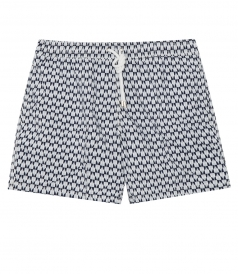 GEOMETRIC ALL OVER PRINTED SWIM BOXERS FT ELASTIC WAIST