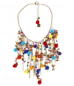 FASHION JEWELLERY - CANCUN MULTI COLOR SHORT NECKLACE FT BEADS & TASSELS