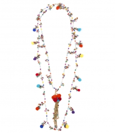 CANCUN DOUBLE NECKLACE FT TASSELD BEADS & CHAIN FRINGES