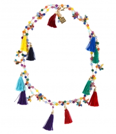 ETNA LONG NECKLACE WITH BEADS AND FRINGES