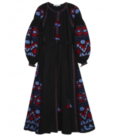 KILIM EMBROIDERED MAXI DRESS WITH OPEN NECKLINE & TASSEL TIES