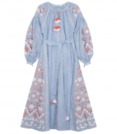 KILIM STONE WASHED EMBROIDERED MAXI DRESS FT BALLON SLEEVES