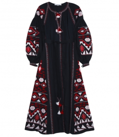KILIM MULTICOLOR EMBROIDERED MAXI DRESS IN NAVY