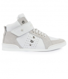 LEWIS ROUND TOE HIGH TOP PERFORATED SNEAKERS FT EYELET DETAILING