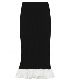 MISAKI HIGH WAIST RIBBED KNIT COLUMN SKIRT FT PEPLUM HEM