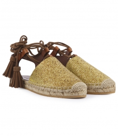 LEATHER WOVEN ESPADRILLES SANDALS FT ANKLE WRAP TASSEL STRAPS