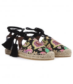 PAISLEY PRINTED ESPADRILLES FT ANKLE WRAP STRAPS
