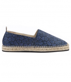 BLUE LEATHER SNAKESKIN PRINTED ESPADRILLES
