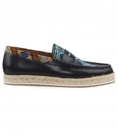 MULTICOLORED LEATHER & CANVAS BLEND SLIP-ON LOAFERS