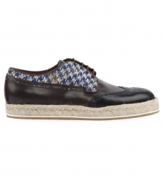 COTTON & SNAKESKIN BLEND HOUNDSTOOTH ESPADRILLE BROGUES