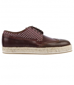 LEATHER & COTTON BLEND LACED ESPADRILLE BROGUES