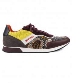 MULTICOLORED LACE UP LOW TOP TRAINERS FT PAISLEY PRINTING