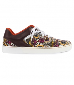 PAISLEY PRINTED LOW TOP LACE SNEAKERS