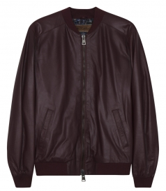 ZIP THROUGH LEATHER BOMBER JACKET WITH RIBBED DETAILING