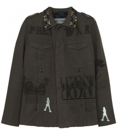 MILITARY SAFARI-STYLE CASUAL JACKET FT EMBROIDERIES & PRINTS