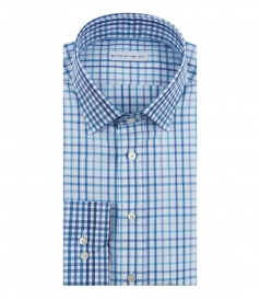 ETRO - CHECK PRINTED LONG SLEEVE SHIRT FT MICROCHECKED CUFFS & COLLAR