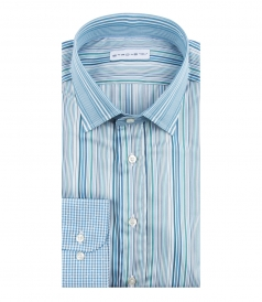 ETRO - STRIPED LONG SLEEVE SHIRT WITH CHECK PRINTED CUFFS