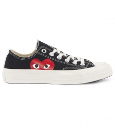 COTTON CANVAS HEART PRINTED LOW TOP LACED CHUCK TAYLOR SNEAKERS