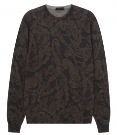 PAISLEY PRINTED CREWNECK SWEATER IN SILK & CASHMERE BLEND
