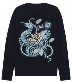 LONG SLEEVE CREWNECK KNITTED PULLOVER FT INTARSIA EMBROIDERY
