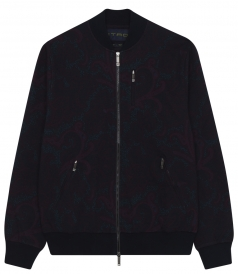 ZIP THROUGH PRINTED CASUAL JACKET FT RIBBED HEM & COLLAR