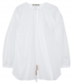 COTTON & LINEN BLEND TUNIC SHIRT FT BALLOON SLEEVES & OPEN NECK