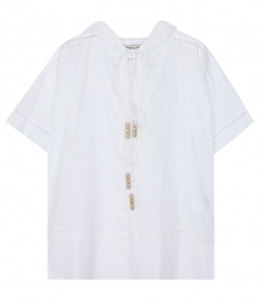 SHORT SLEEVE HOODED BLOUSE IN COTTON FT OPEN NECKLINE