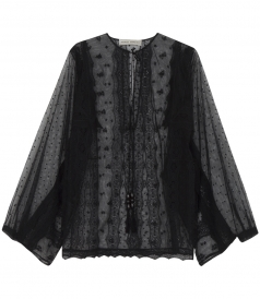LONG SLEEVE LACE BLOUSE FT OPEN NECKLINE