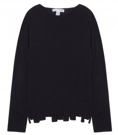 LONG SLEEVE CREWNECK KNITTED PULLOVER FT DISTRESSED RIBBED HEM