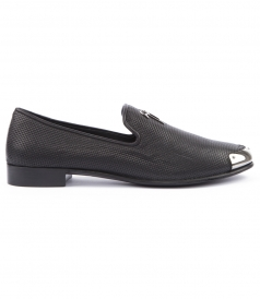 SLIP-ON LOAFERS IN TEXTURED LEATHER FT METALLIC TOE CAP