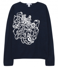 LONG SLEEVE KNITTED PULLOVER IN COTTON WITH PRINTS