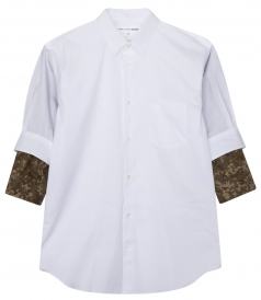 SHIRTS - 3/4 SLEEVE SHIRT IN COTTON POPLIN FT CAMOUFLAGE SLEEVE LINING