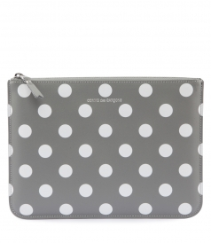 POLKA DOT PRINTED POUCH FT LOGO EMBOSSED PRINT STAMP