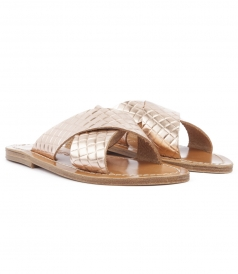 SHOES - ARIS SANDALS IN TEXTURED LEATHER FT WIDE CRISSCROSS STRAPS