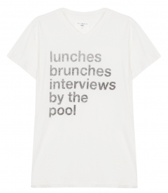 POOLSIDE RULES PRINTED V NECK STRAIGHT HEM TEE