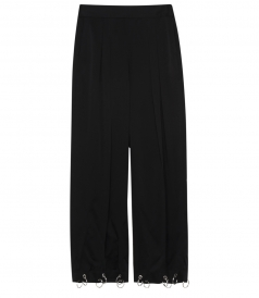 CADY WIDE LEG CROPPED TROUSERS FT RING HEM DETAILING