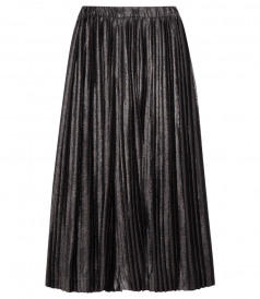 PLEATED METALLIC CROPPED TROUSERS FT ELASTICATED WAISTBAND