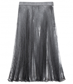 LAME PLEATED HIGH WAIST SKIRT IN SILK BLEND