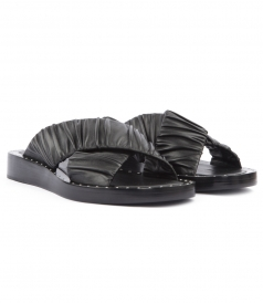 NAGANO SLIDE SANDALS FT RUCHED LEATHER CRISSCROSS STRAPS