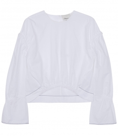 TOPS - LONG SLEEVE GATHERED CROPPED TOP FT CURVED HEMLINE