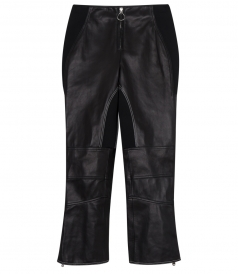 LEATHER BIKER CROPPED PANT FT HARDWARE ZIP DETAILING