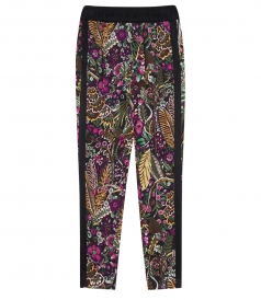 WILD THINGS FLORAL PRINTED TAPERED LEG PANTS