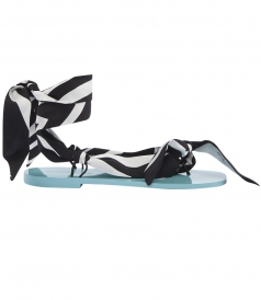 SALES - WRAP AROUND THE ANKLE FLAT SANDALS IN PRINTED SILK TWILL