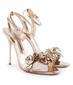 SHOES - ROSE GOLD LILICO 3D FLOWER EMBELLISHED HIGH HEEL SANDALS