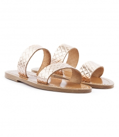 SHOES - ANDROS FLAT SANDALS IN TEXTURED LEATHER