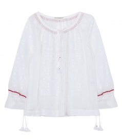 BARI EMBROIDERED BLOUSE IN GAUZE LINEN FT SEAM DETAILING
