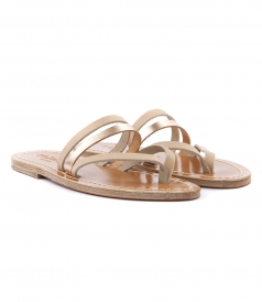 SHOES - SKYROS FLAT SANDALS IN SOFT LEATHER
