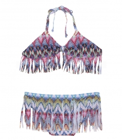 PILYQ - BELIZE MULTICOLORED FRINGE BIKINI FT HALTER TOP