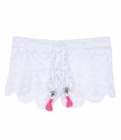 LITTLE LEXI LACE COVER UP SHORTS FT TASSELED DRAWSTRING WAIST